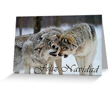 Timber Wolf Christmas Card - Spanish - 13 Greeting Card