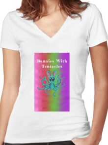Bunnies With Tentacles (colored) Women's Fitted V-Neck T-Shirt