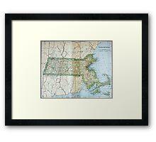 Vintage Map of Massachusetts (1905) Framed Print