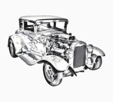 1930 Model A Custom Hot Rod Illustration Kids Tee