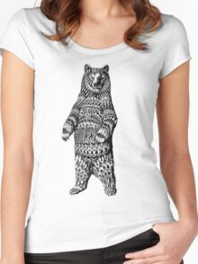 Ornate Grizzly Bear Women's Fitted Scoop T-Shirt