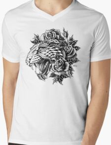 Ornate Leopard Mens V-Neck T-Shirt