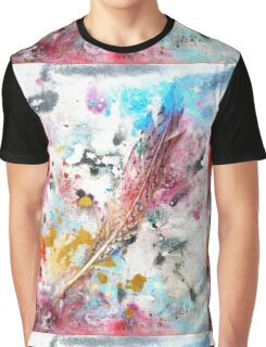 Red, White, and Blue & One Quail Feather - Rain Painting Graphic T-Shirt