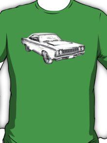 1968 Plymouth Roadrunner Muscle Car Illustration T-Shirt