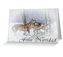 Timber Wolf Christmas Card - Spanish - 14 Greeting Card
