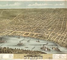 Vintage Pictorial Map of Memphis Tennessee (1870)  by BravuraMedia