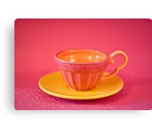 Pink and yellow vintage teacup & saucer Canvas Print