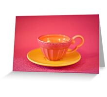 Pink and yellow vintage teacup & saucer Greeting Card