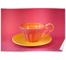 Pink and yellow vintage teacup & saucer Poster