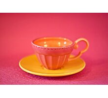 Pink and yellow vintage teacup & saucer Photographic Print