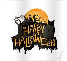 Happy Halloween cemetery banner.  Poster