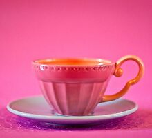 Pink and baby blue vintage teacup by Zoe Power