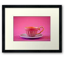 Pink and baby blue vintage teacup Framed Print