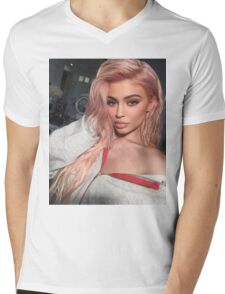 Kylie Jenner Pink Mens V-Neck T-Shirt