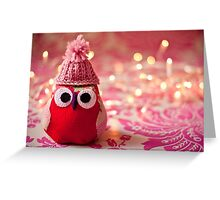 Winter owl in woolly hat  Greeting Card
