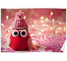 Winter owl in woolly hat  Poster