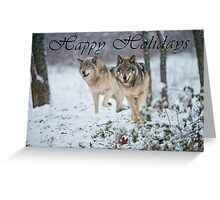 Timber Wolf Holiday Card - 15 Greeting Card