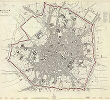 Vintage Map of Milan Italy (1832) by BravuraMedia