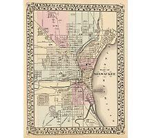 Vintage Map of Milwaukee (1880) Photographic Print