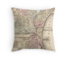 Vintage Map of Milwaukee (1880) Throw Pillow