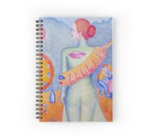 Girl with Orange Hand Shaw Spiral Notebook
