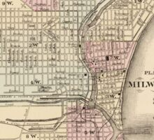 Vintage Map of Milwaukee (1880) Sticker