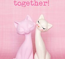 Purrrfect together! Valentine card (pink and white cats version) by Zoe Power
