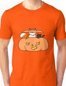 Halloween Fox and Black Cat Unisex T-Shirt