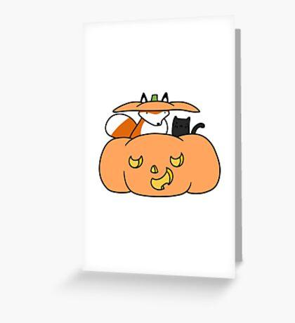 Halloween Fox and Black Cat Greeting Card