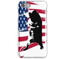 pedals the walking bear amerian flag iPhone Case/Skin