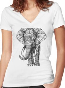Ornate Elephant Women's Fitted V-Neck T-Shirt