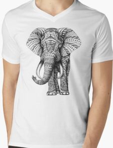 Ornate Elephant Mens V-Neck T-Shirt