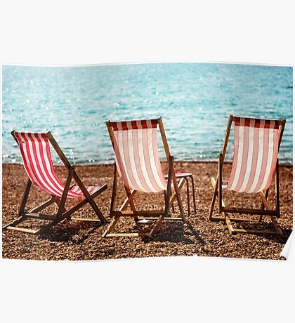 Stripy Deckchairs Pebble Beach Sea and Sunshine Poster
