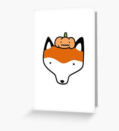 Pumpkin Fox Face Greeting Card
