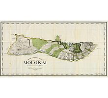 Vintage Map of Molokai Hawaii (1906) Photographic Print