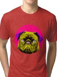 Pink Bubble Pug Pop Art Tri-blend T-Shirt