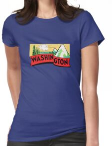 Washington WA State Vintage Travel Decal Womens Fitted T-Shirt