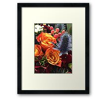 Floral photograph - orange roses and blue sea holly 2 Framed Print