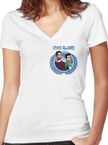 The Ultimate Sterek Alliance Blue T-Shirt [Small Logo] Women's Fitted V-Neck T-Shirt