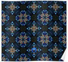 Kaleidoscope Golden Blue Poster