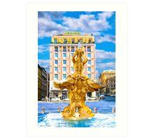 Classic BerniniTriton Fountain in Piazza Barberini Art Print