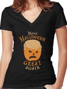 MAKE HALLOWEEN GREAT AGAIN - DONALD TRUMP PARODY TRUMPKIN Women's Fitted V-Neck T-Shirt