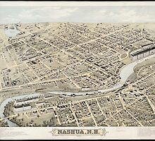 Vintage Pictorial Map of Nashua NH (1875) by BravuraMedia