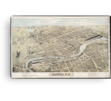 Vintage Pictorial Map of Nashua NH (1875) Canvas Print