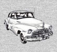 1948 Chevrolet Fleetmaster Antique Car Illustration One Piece - Long Sleeve
