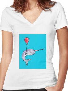 Birthday Narwhal Women's Fitted V-Neck T-Shirt