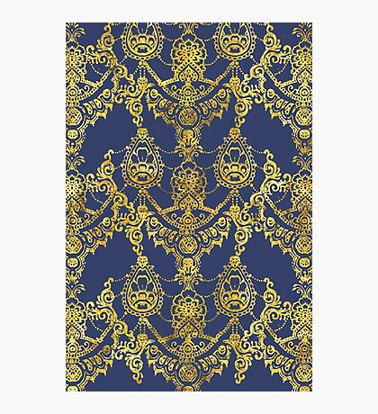 Blue and Gold Indian Henna Pattern Photographic Print