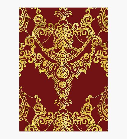 Red and Gold Indian Henna Pattern Photographic Print