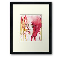 rabbit and the girl Framed Print