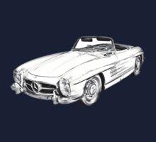 Mercedes Benz 300 SL Convertible Illustration Kids Tee